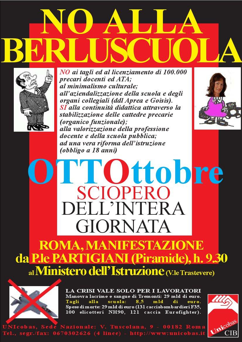 manifesto sciopero 8 ottobre